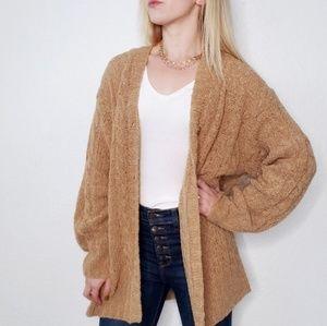 80-90s Vintage Tan Knit Oversized Cardigan Sweater